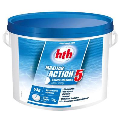 1 hth MAXITAB® 200g ACTION 5 pour piscines : Désinfection régulière